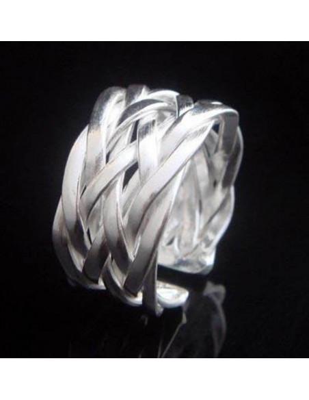 Inel placat cu argint, model lat din 9 fire impletite