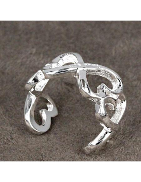 Inel placat cu argint, model infinit cu inimioare