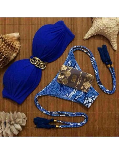 Costum de baie BOHO cu lantisor auriu si slip abstract albastru