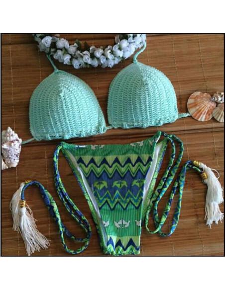 Costum de baie crosetat BOHO hippie cu canafi si slip verde / albastru