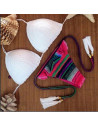 Costum de baie crosetat BOHO hippie cu canafi si slip roz / mov