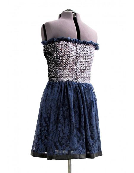 Rochita de ocazie eleganta si sexy, din dantela albastra si top cu paiete argintii