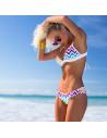 Costum de baie cu imprimeu retro geometric si push up