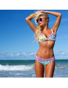 Costum de baie cu imprimeu retro geometric si push up