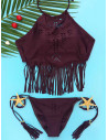 Costum de baie visiniu cu franjuri si decupaje, slip incretit