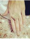 Inel auriu model antic, romb cu gropite