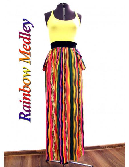 Fusta lunga din bumbac satinat, model multicolor, fusta lunga cu peplum si elastic lat