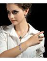 Bratara luxury argintie cu trei inimioare albastre si cristale stralucitoare