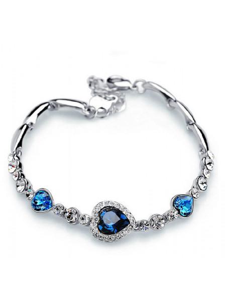 Bratara eleganta cu inimioare albastre si cristale