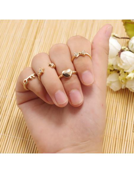 Set 6 inele aurii minimal, midi, cu inimioara, cristale si cheita