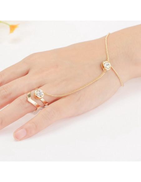 Bratara arabeasca cu inel dublu in V si cristale