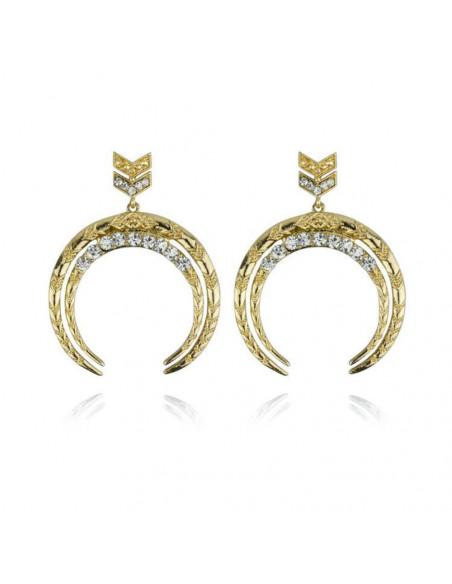 Cercei aurii arcuiti cu cristale si motive etnice