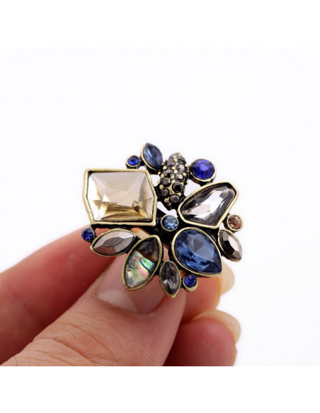 Inel vintage elegant cu cristale colorate neregulate