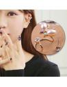 Cercel ear cuff pentru ambele urechi, fir rasucit cu fluture si cristale