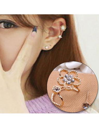 Cercel ear cuff pentru ambele urechi, fir rasucit cu floare si cristale