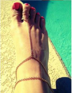 Bratara cu inel pentru glezna cu lantisor subtire dublu