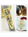 Inel articulat cu trei segmente, model floral cu cristale