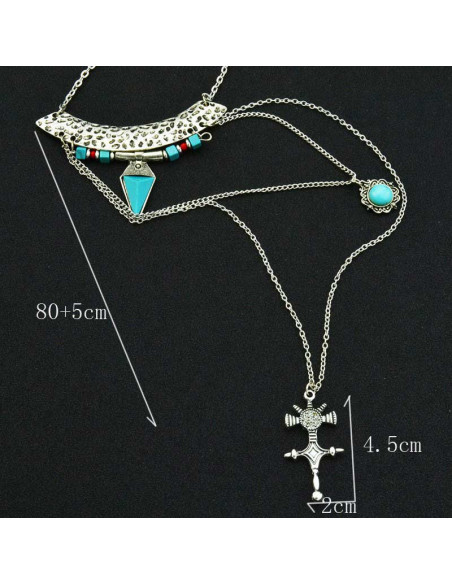 Colier boho vintage, cu 2 lanturi lungi si medalion cruce