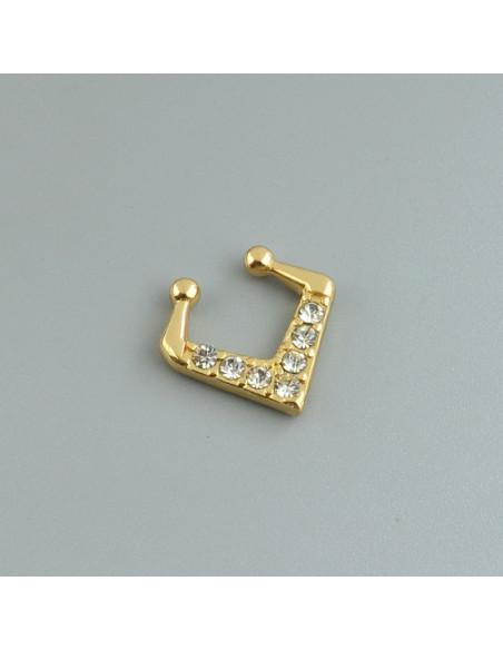 Inel fals pentru nas Septum Ring, romb cu 7 cristale