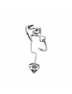 Bratara arabeasca cu inel, romburi cu margica alba