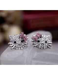 Cercei argintii model Hello Kitty, cu cristale