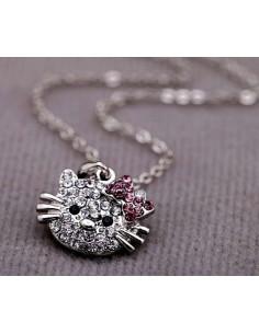 Lantisor subtire argintiu cu medalion Hello Kitty