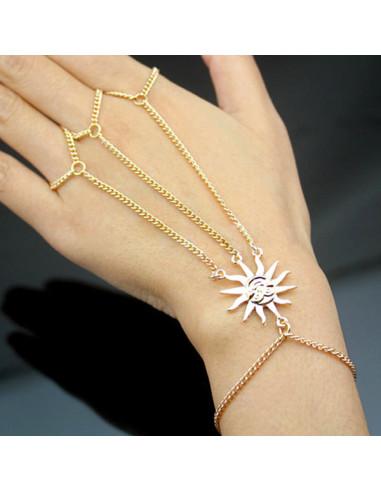 Bratara arabeasca cu soare si 3 lantisoare cu inel