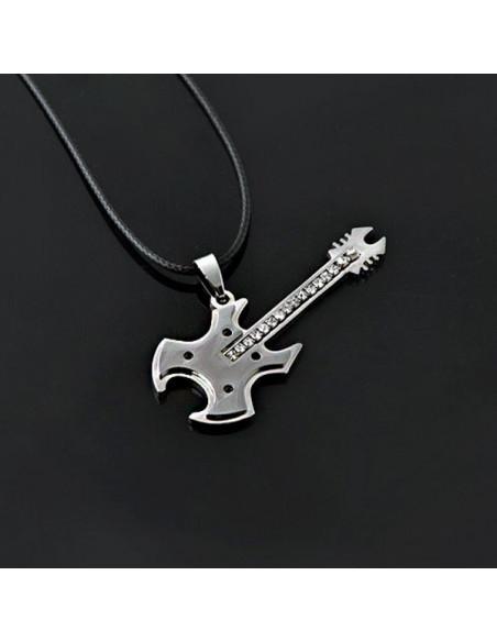 Snur cu medalion chitara heavy, din otel gri inchis cu argintiu si cristale