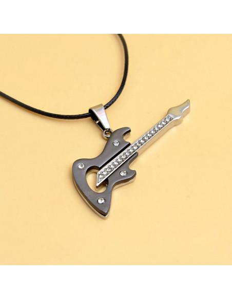 Snur cu medalion chitara electrica, din otel gri inchis cu argintiu si cristale