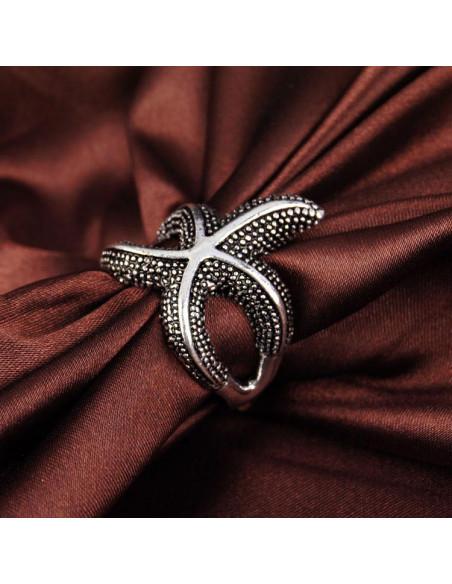 Inel argintiu, model stea de mare