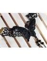 Bratara din dantela neagra, cu inel, model cu fluture si margele