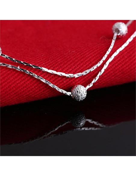 Bratara eleganta placata cu argint, dubla, cu bilute