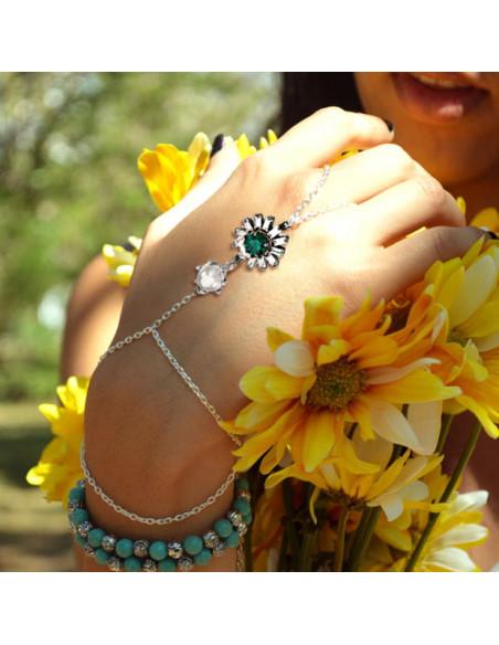 Bratara arabeasca cu inel, floare din cristale si perla