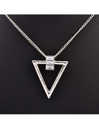 Colier minimal elegant, triunghi cu 3 cristale dreptunghiulare