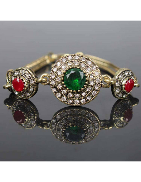 Bratara vintage model baroc, cu medalioane rotunde si cristale verzi si rosii