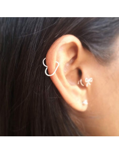 Cercel ear cuff mic, model inimioara