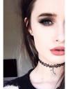 Colier tattoo choker negru elastic, cu inimioare duble