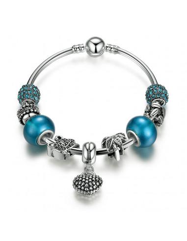 Bratara placata cu argint tip Pandora, cerc fix cu charmuri turcoaz