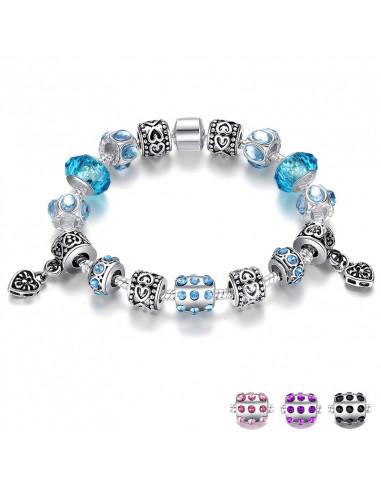 Bratara placata cu argint tip Pandora, cu inimioare si cristale fatetate