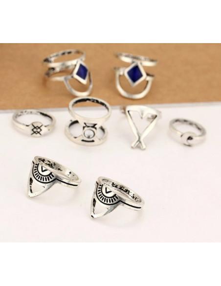 Set 8 inele argintii, model amerindian cu romburi, triunghiuri si soare
