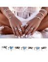 Set 7 inele etnice argintii, Breethe in Love, cu semiluni