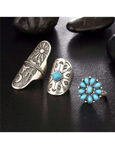 Set 8 inele cu motive amerindiene, sageti, cactusi, margele si flori