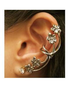 Cercel tip ear cuff, cu flori micute si cristal in varf, prindere pe ureche