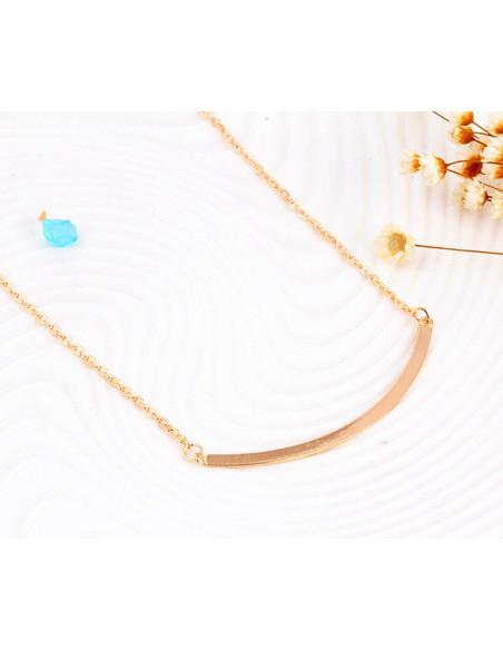 Colier multilayer triplu, cu tija curbata, inele, perla si tep