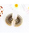 Cercei statement eleganti auriu patinat, margarete cu cristale