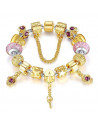 Bratara tip Pandora aurie cu margele de Murano, inimioara cu cheie
