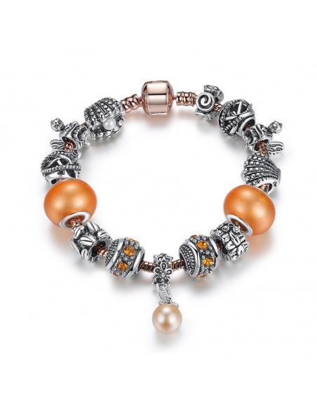 Bratara tip Pandora cu margele de Murano, perle si cafea
