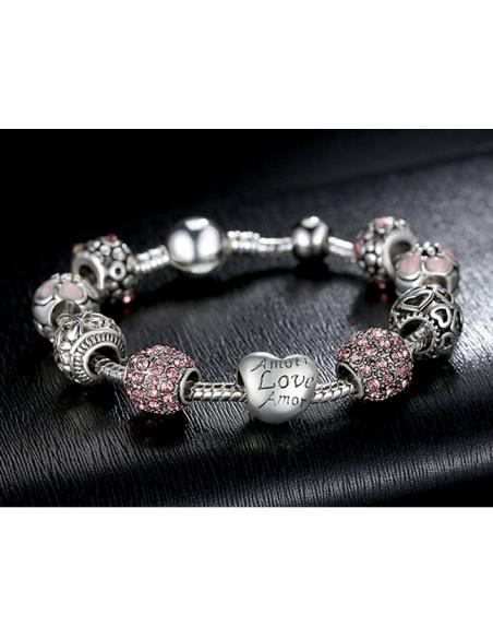 Bratara placata cu argint tip Pandora, Amour cu cristale si flori roz