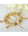 Bratara tip Pandora aurie, patru charmuri trandafiri, inimioara cu cheie