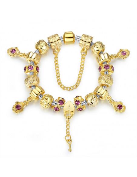 Bratara tip Pandora aurie, inimioara cu cheie si flori cu cristale roz